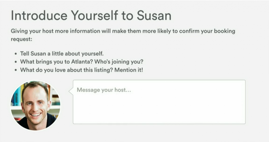 The solution that came out of testing 'host acceptance', a well-sized introductory text. Screenshot taken from How AirBnB designs for trust.